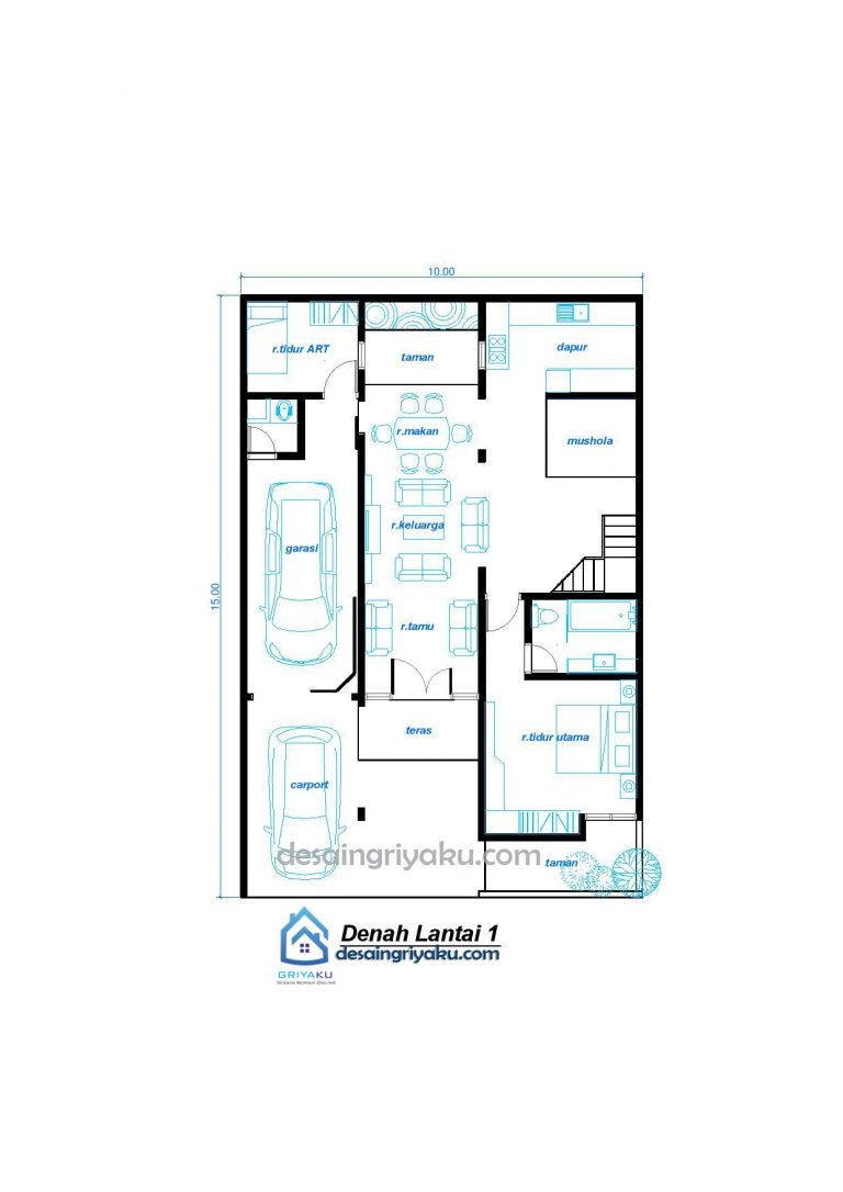 DENAH 10X15 LANTAI 1 minimalis 768x1086 - Rumah 10x15 Minimalis 2 lantai