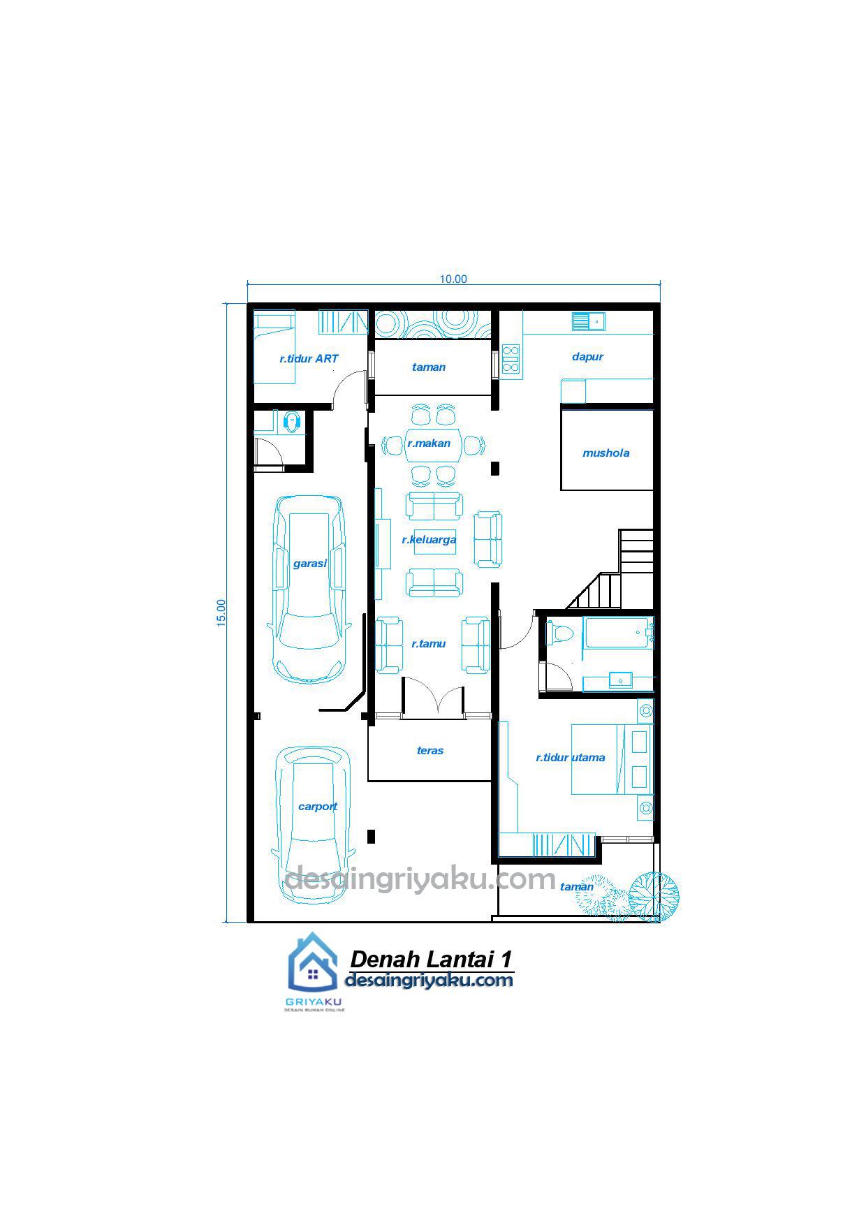 denah lt1 Rumah 10x15 Minimalis 2 lantai