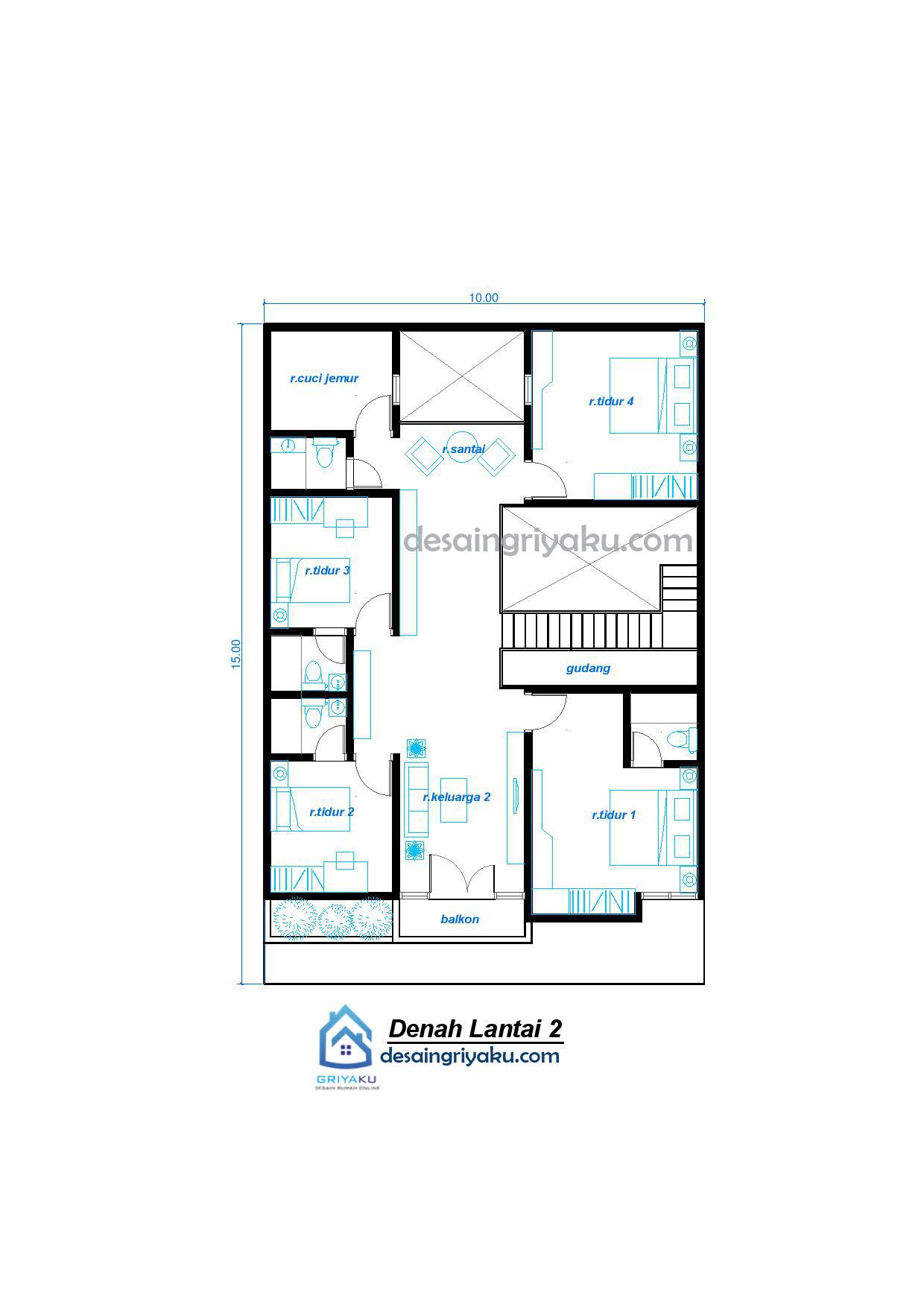 denah lt2 Rumah 10x15 Minimalis 2 lantai