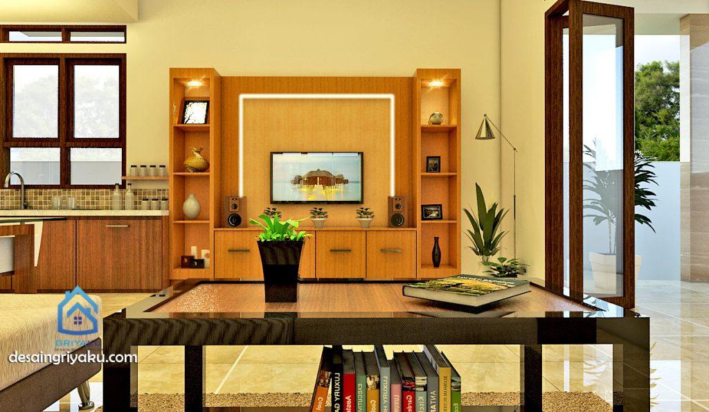 interior rumah 13x18 tropis ruang keluarga