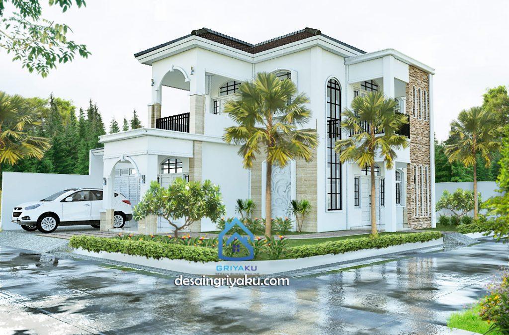 desain rumah 14x17 mediterania 2 lantai