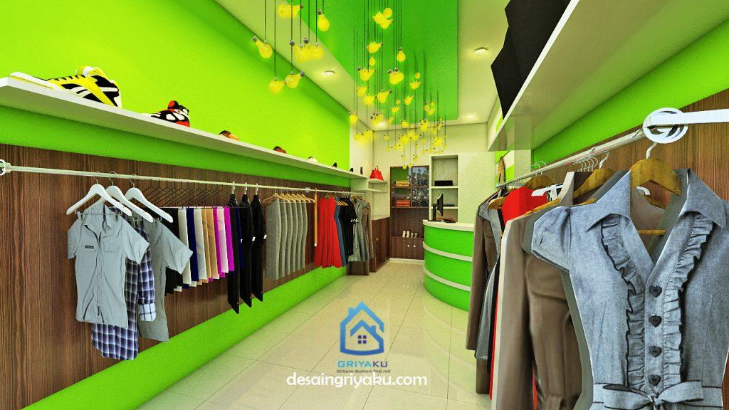interior toko baju lebar 3 meter 3