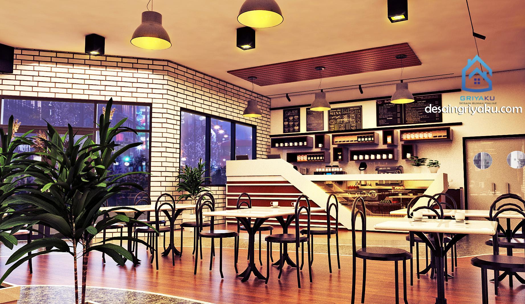 desain cafe bergaya industrial 10×15