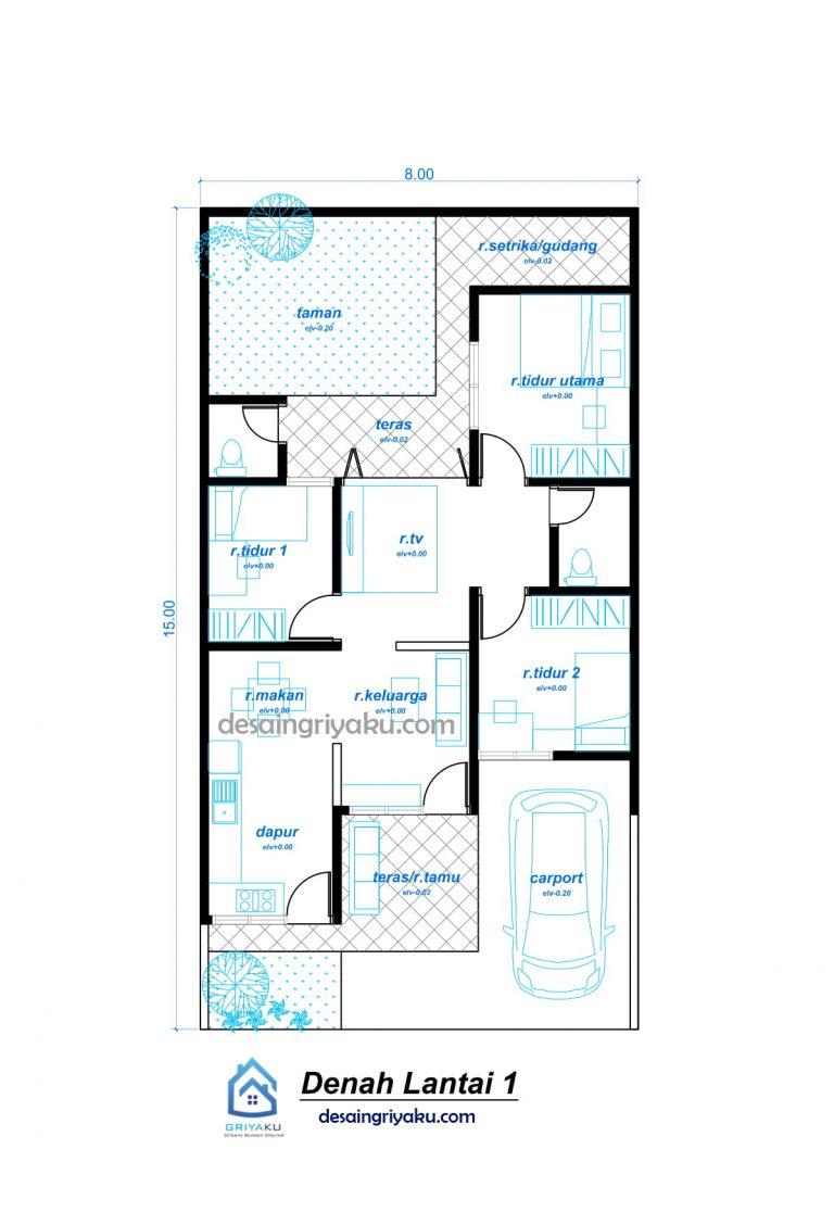 DENAH 8X15 MINIMALIS 768x1128 - Rumah 8x15 Minimalis 1 lantai