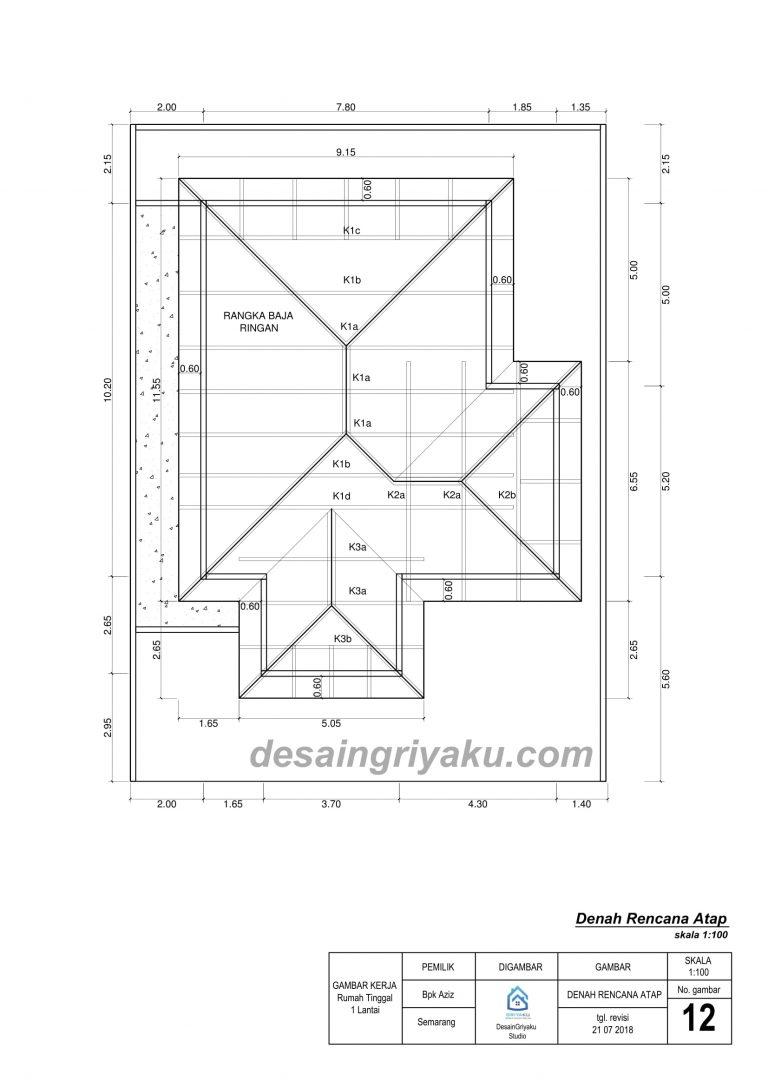 contoh denah rencana atap
