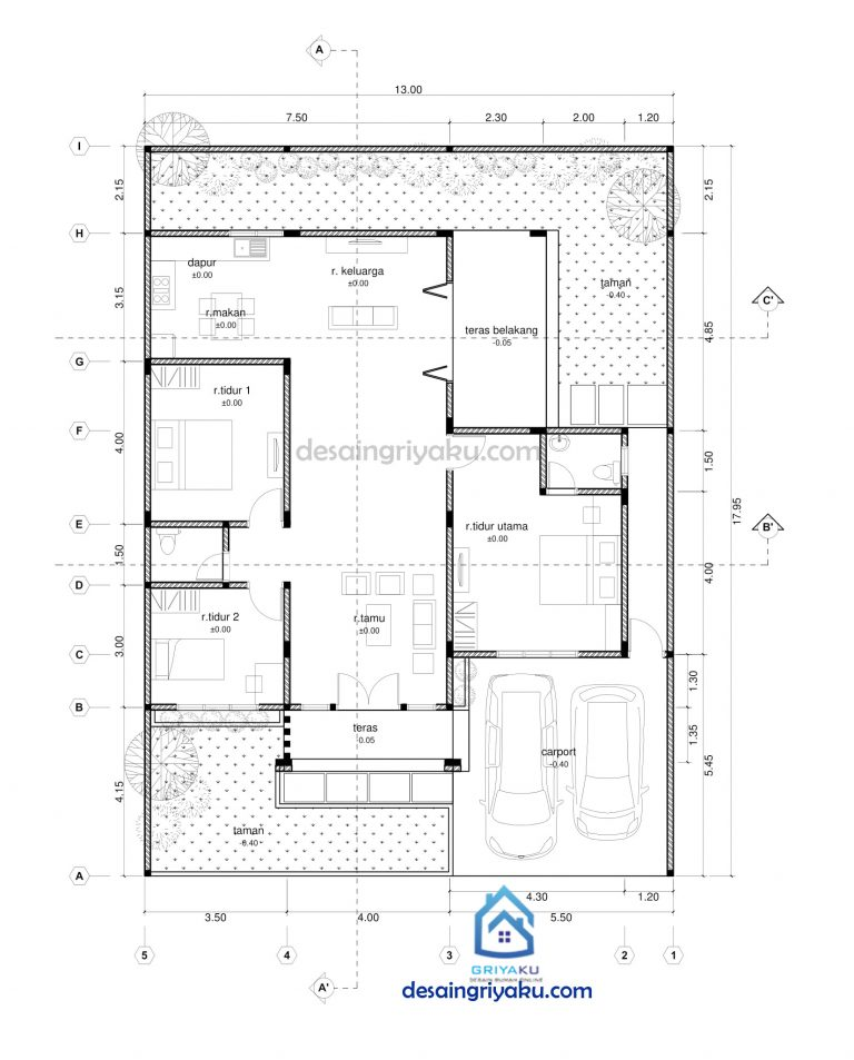 denah rumah 13x18 tropis 768x953 - Rumah 13x18 Tropis 1 lantai