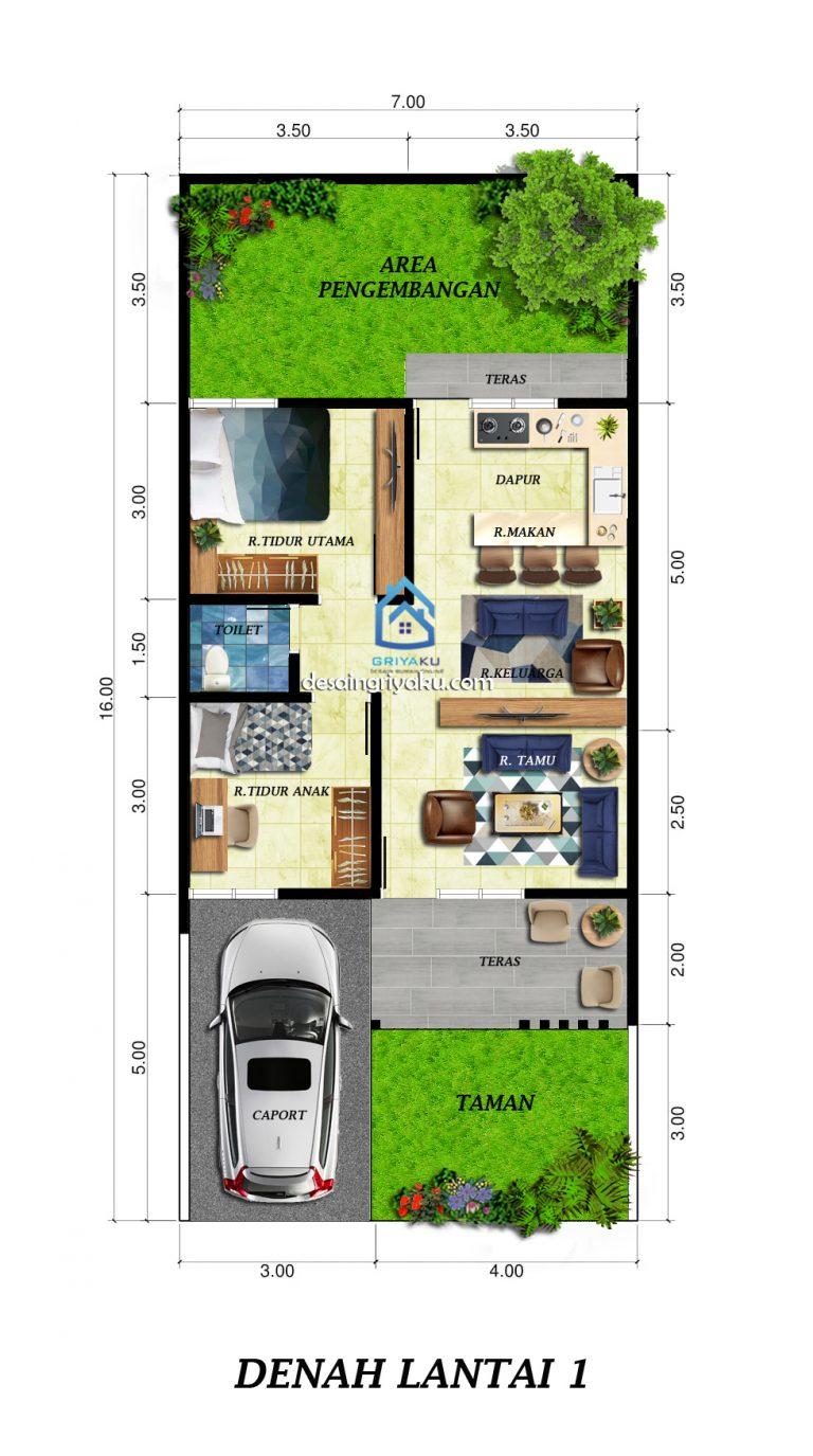 Rumah 7x16 Minimalis 1 Lantai Jasa Desain Rumah Online