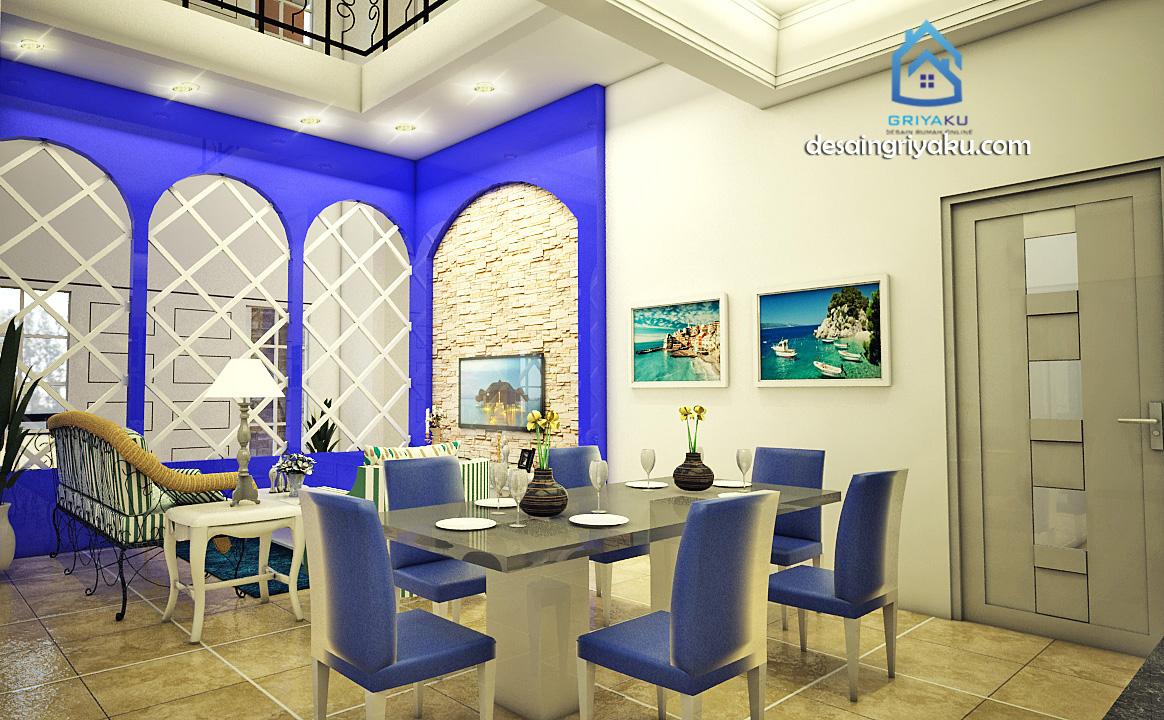 interior ruang keluarga mediterania