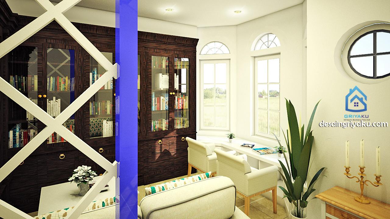 interior ruang baca mediterania
