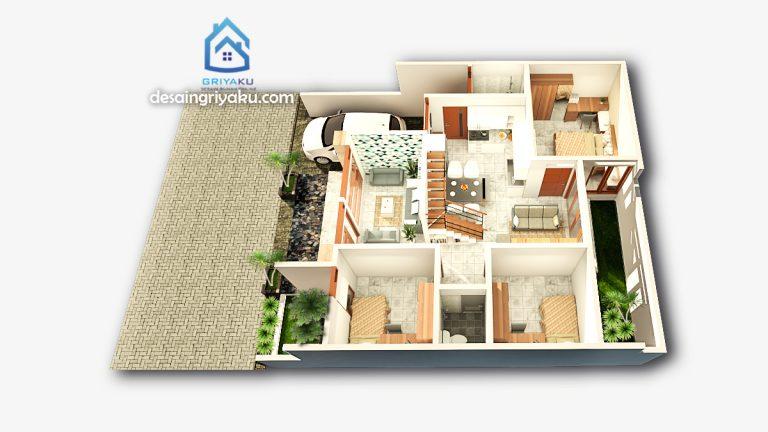 3d denah rumah 10x12 1 lantai 768x432 - Jasa Desain Rumah Online