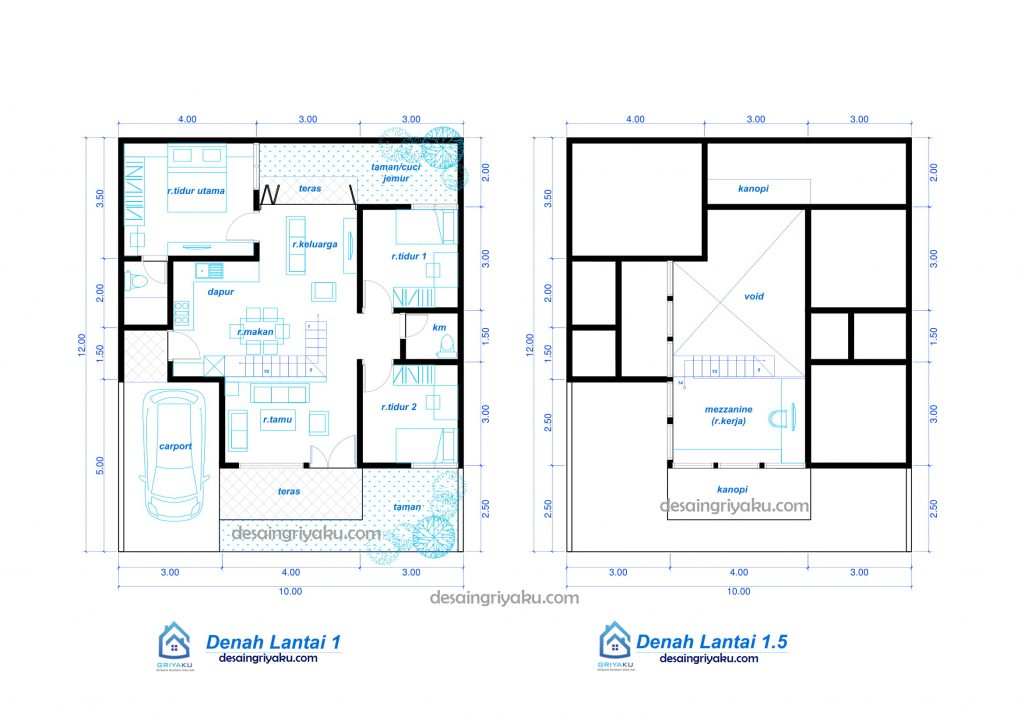 denah rumah 10x12 minimalis 1 lantai