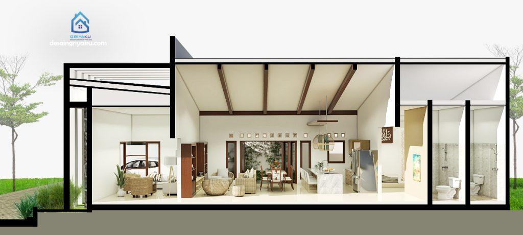 potongan rumah 10x17 minimalis 1 lantai 2 1024x460 - Rumah 10x17 Minimalis 1 Lantai
