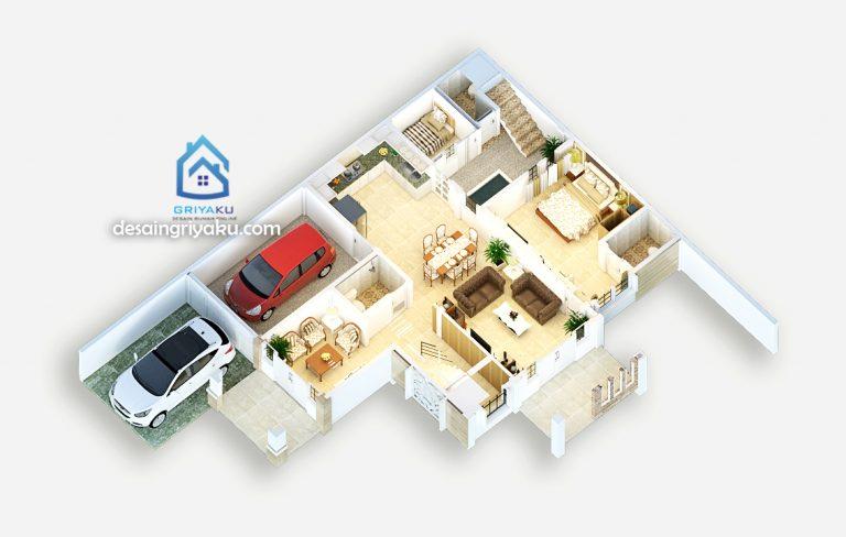 3d denah rumah 14x17 lantai 1 768x488 - Jasa Desain Rumah Online