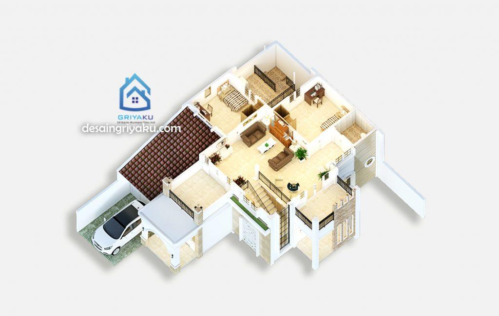 3d denah rumah 14x17 lantai 2