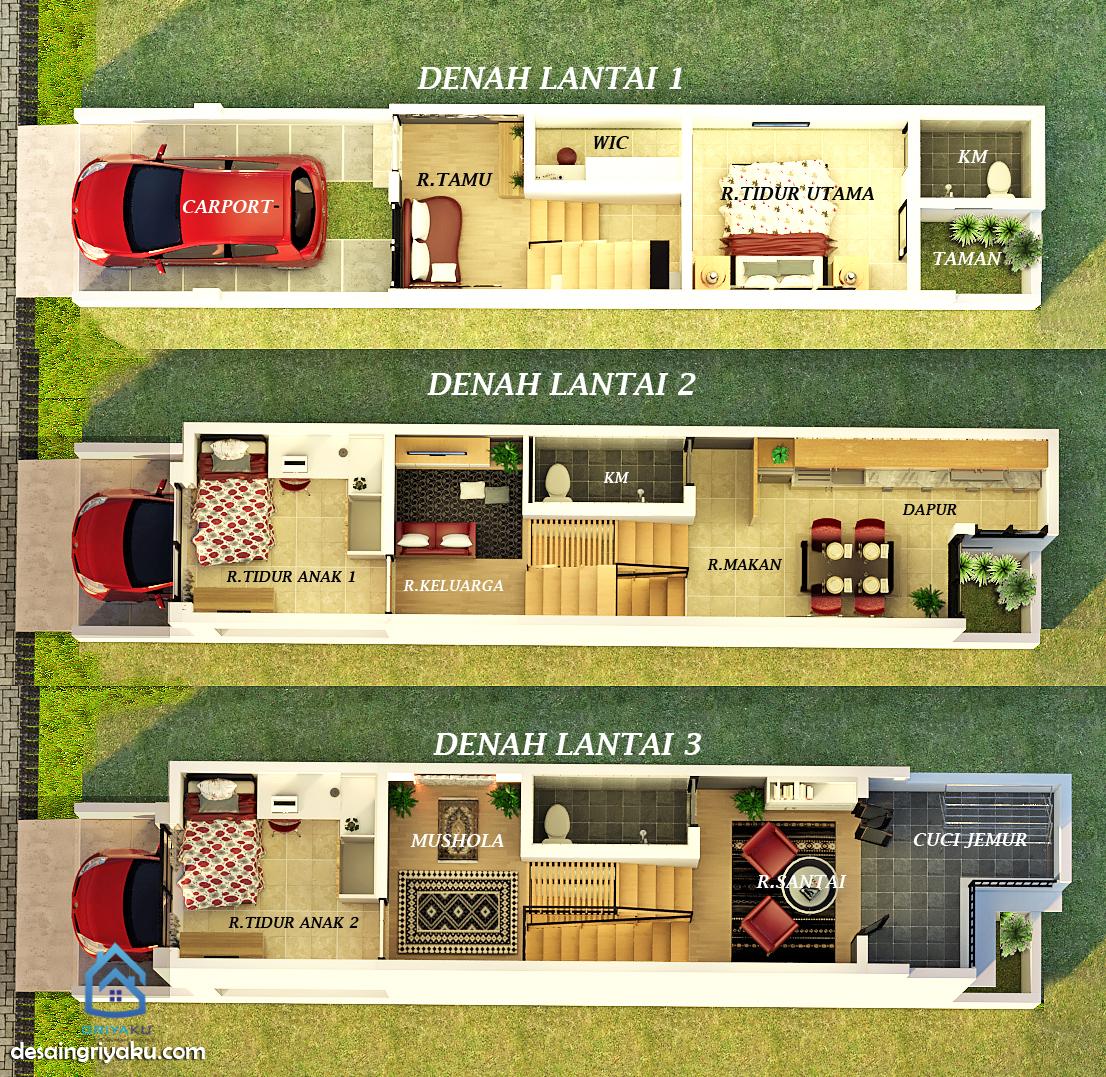 Denah 3d Rumah 3x15 Jasa Desain Rumah Online