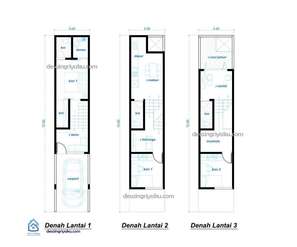 denah rumah 3x15 minimalis split level