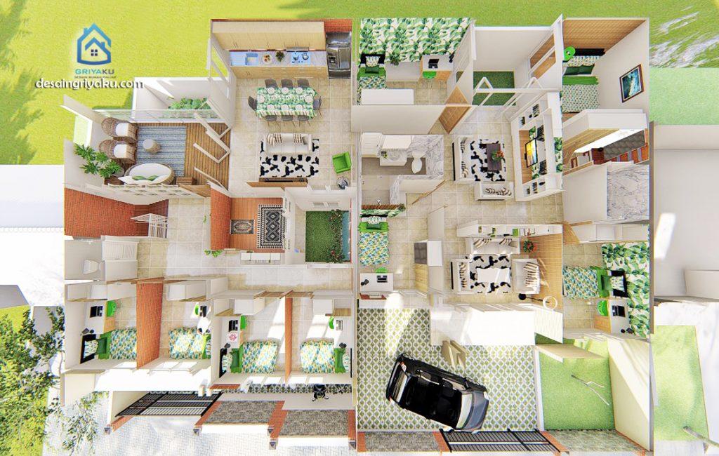 Denah 3D Rumah Kos 20x15