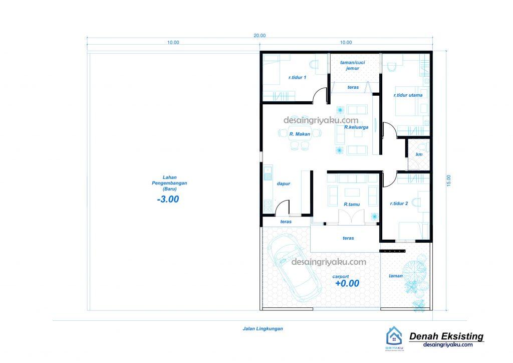denah eksisting rumah kos 20x15