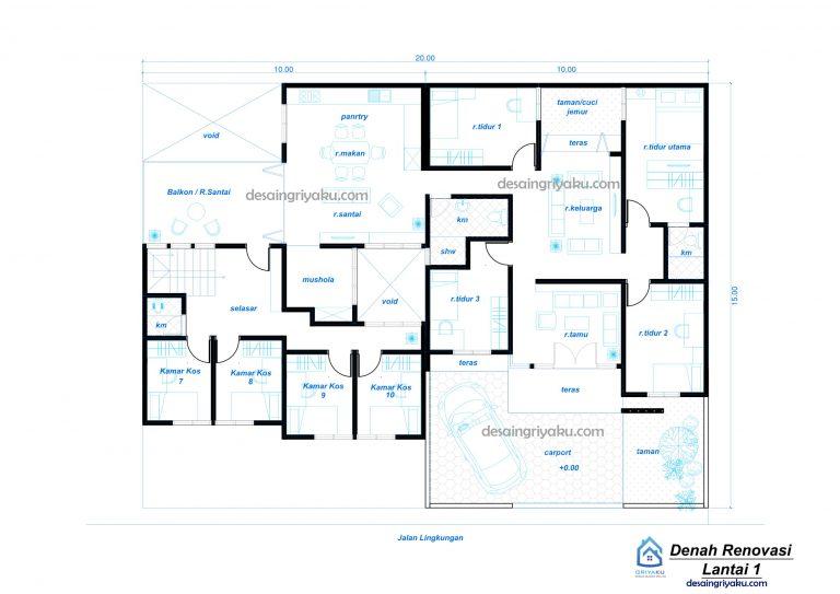 denah renovasi lt1 rumah kos 20x15a