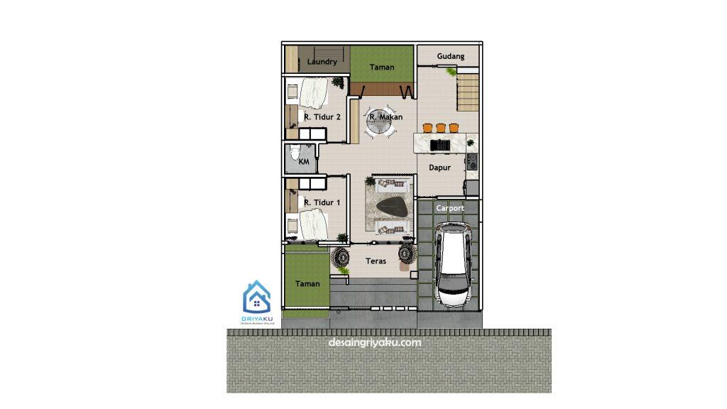 denah lt1 rumah 9x12 1024x576 - Rumah 9x12 Minimalis