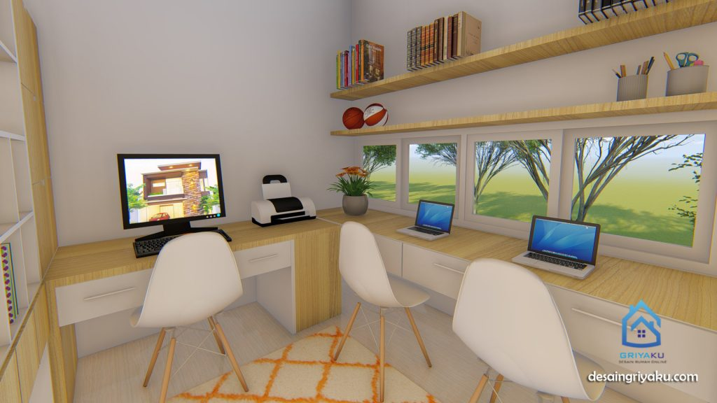 ruang kerja ruang belajar 9x12 1024x576 - Rumah 9x12 Minimalis