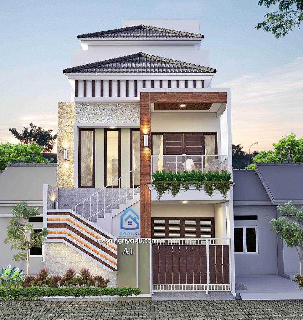 rumah 7x14 3 lamtai tropis minimalis 968x1024 - Rumah Lebar 7 meter